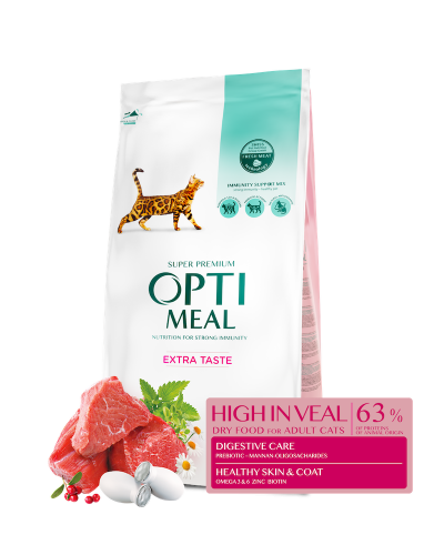 Сухой корм Optimeal для взрослых кошек с высоким содержанием телятины, 10 кг