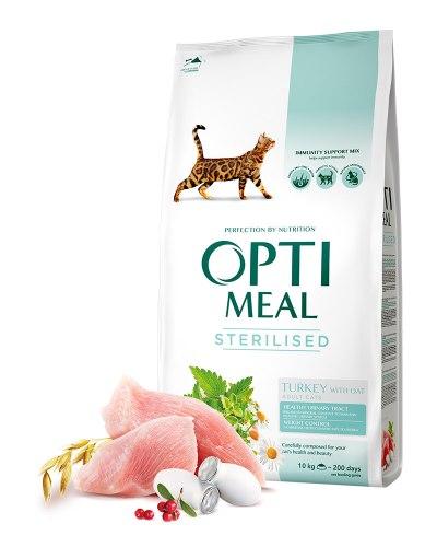 Сухой корм Optimeal для кастрированных котов и стерилизованных кошек - индейка и овес, 10 кг