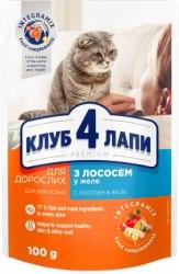 Влажный корм Club 4 Paws для кошек с лососем в желе, 100 г*24шт