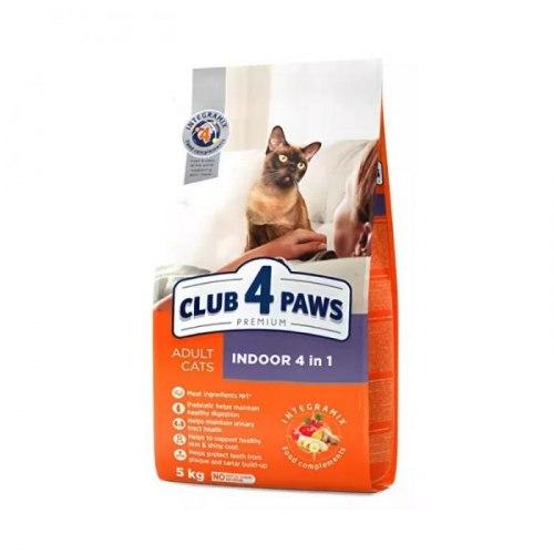 Сухой корм Club 4 Paws для взрослых кошек, живущих в помещении 4в1, 5 кг