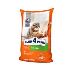Сухой корм Club 4 Paws взрослых кошек с курицей, 14 кг