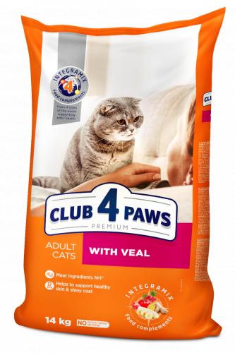 Сухой корм Club 4 Paws для взрослых кошек с телятиной, 14 кг