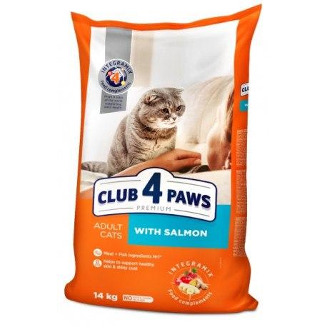 Сухой корм Club 4 Paws для взрослых кошек с лососем, 14 кг