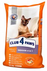 Сухой корм Club 4 Paws для взрослых кошек, живущих в помещении 4в1, 14 кг