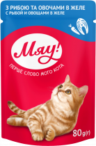 Влажный корм Мяу для взрослых кошек с рыбой и овощами в желе, 80г*24шт
