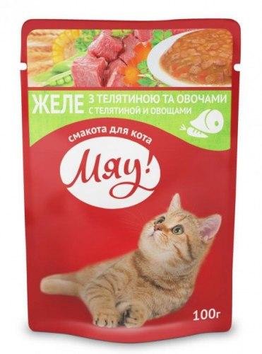Влажный корм Мяу для взрослых кошек Желе с телятиной и овощами, 100г*24шт