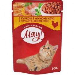 Влажный корм Мяу для взрослых кошек с курицей в нежном соусе, 100г*24шт