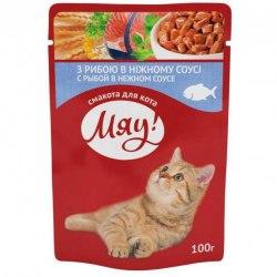 Влажный корм Мяу для взрослых кошек с рыбой в нежном соусе, 100г*24шт