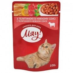 Влажный корм Мяу для взрослых кошек с телятиной в нежном соусе, 100г*24шт