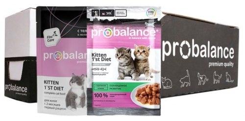 Влажный корм ProBalance 1'st Diet корм для котят c телятиной в желе (пауч), 25шт*85г