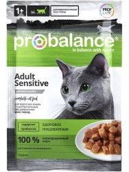 Влажный корм ProBalance Sensitive корм для кошек чувствительное пищеварение (пауч), 25шт*85г