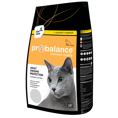 Сухой корм ProBalance Immuno Protectiion Корм сухой для кошек, курица/индейка, 1,8 кг