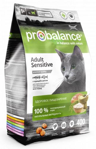 Сухой корм ProBalance Sensitive Корм сухой для кошек с чувствительным пищеварением, курица-рис 1,8 кг