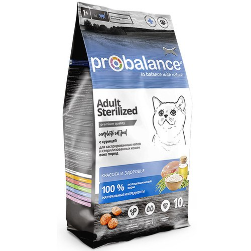 Сухой корм ProBalance Sterilized корм для стерилизованных кошек и кастрированных котов 10 кг