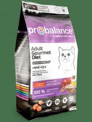 Сухой корм ProBalance Gourmet diet Adult Корм сухой для взрослых кошек с говядиной и ягненком 10 кг