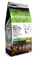 Сухой корм ProBalance Delicate Digestion корм для взрослых собак с лососем и рисом 15 кг