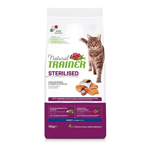 Сухой корм TRAINER для стерилизованных кошек и кастрированных котов с лососем 1,5 кг