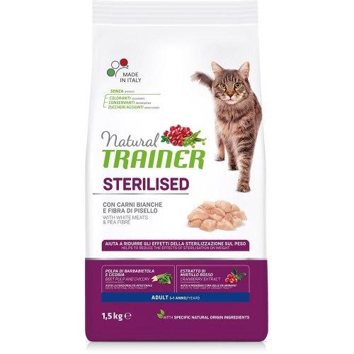 Сухой корм TRAINER для стерилизованных кошек и кастрированных котов со свежим белым мясом 1,5 кг