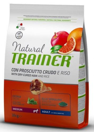 Сухой корм TRAINER для собак средних пород с сыровялен ветчиной, рисом и маточным молочком 3 кг