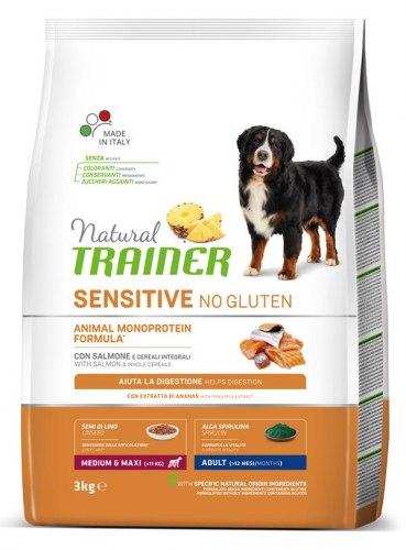 Сухой корм TRAINER для собак средних пород с чувствительным пищеварением, лосось 12 кг