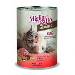 Паштет Miglior Gatto для стерилизованных кошек с телятиной, 400г