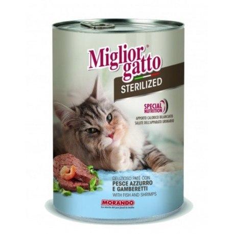 Паштет Miglior Gatto для стерилизованных кошек с рыбой/креветками, 400г