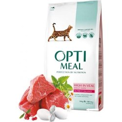Сухой корм Optimeal для взрослых кошек с высоким содержанием телятины, НА РАЗВЕС 100г