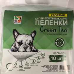 Пеленки FOUR PETS Green Tea для собак c ароматом зеленого чая 60х60см., упаковка 10 шт