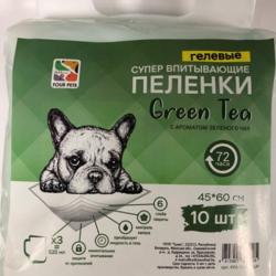Пеленки FOUR PETS Green Tea для собак c ароматом зеленого чая 60х90см., упаковка 10 шт