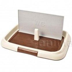 Туалет Laptop для cобак со столбиком, сеткой и крышкой 47x34 см.