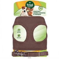 Комплект Triol мягкая шлейка-жилетка и поводок нейлоновый коричневый S, обхват груди 350мм, поводок 15*120