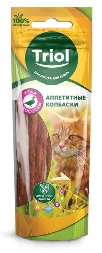 Аппетитные колбаски Triol из утки для кошек, 40г
