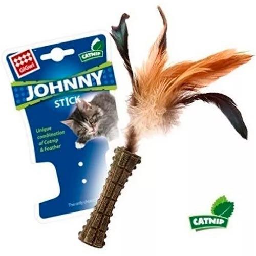 """Игрушка GiGwi для кошек """"Johnny stick"""" в виде пресованной кошачьей мяты, с перьями, 8 см"""