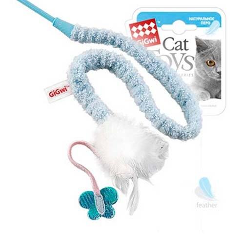 Дразнилка GiGwi для кошек на стеке, с бабочкой и перьями, 73 см.