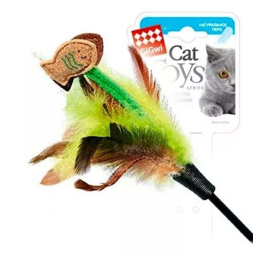Дразнилка GiGwi для кошек на стеке с рыбками и перьями, 75 см.