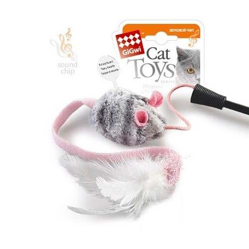 Дразнилка GiGwi для кошек на стеке, со звуковым чипом, с мышкой и перьями, 51 см.