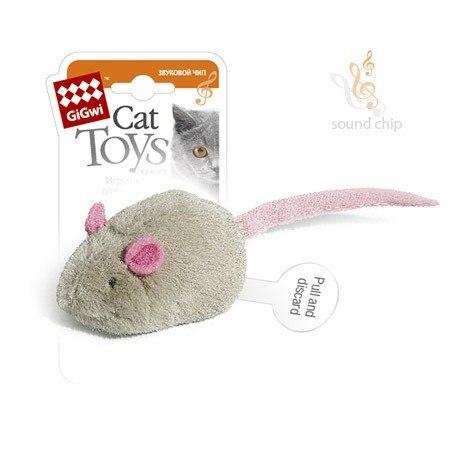"""Игрушка GiGwi для кошек """"Мышка"""" со звуковым чипом, плюш, 6 см"""