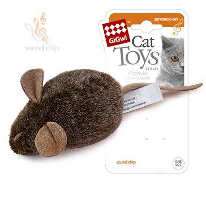 """Игрушка GiGwi для кошек """"Мышка"""" со звуковым чипом, плюш, 15 см"""