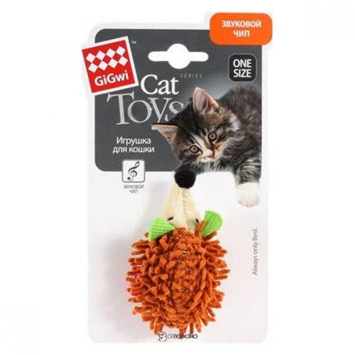 """Игрушка GiGwi для кошек """"Ежик"""" со звуковым чипом, плюш, 7 см"""