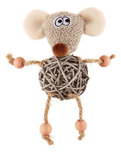 """Игрушка GiGwi для кошек """" Мышка с плетеным мячиком и колокольчиком"""", 8 см"""