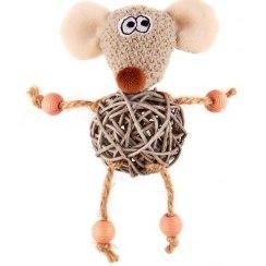 """Игрушка GiGwi для кошек """"Заяц с плетеным мячиком и колокольчиком"""", 8 см"""