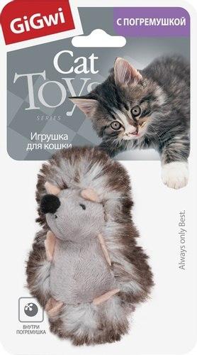 """Игрушка GiGwi для кошек """"Ежик"""" с погремушкой, плюш, 7 см"""