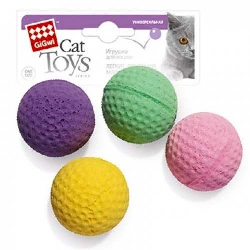 """Игрушка GiGwi для кошек """"Мячики"""" 4 см, 4 шт"""