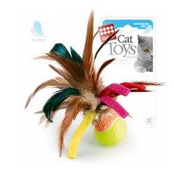 """Игрушка GiGwi для кошек """"Мячик с перьями"""" , 6 см"""