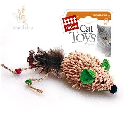 """Игрушка GiGwi для кошек """"Мышка"""" с электронным чипом, плюш/пластик/перо 8 см"""