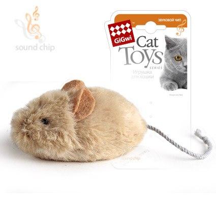 """Игрушка GiGwi для кошек """"Мышка"""" с звуковым чипом, плюш/пластик 13 см"""