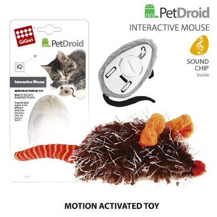 """Игрушка GiGwi для кошек """" Интерактивная мышка"""" двигается при касании лапами,9 см"""