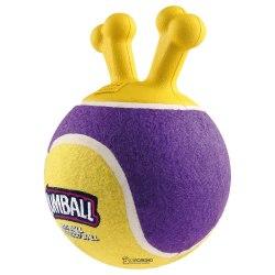 """Игрушка GiGwi для собак """"Мяч с захватом"""" с ручкой """"Джамбол"""",теннисный материал, жёлтый, 18 см"""