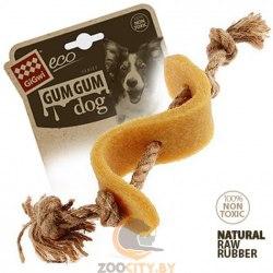 """Игрушка GiGwi для собак """"Доллар"""", эко-резина/льняной ремешок, 13,5 см."""