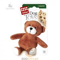 """Игрушка GiGwi для собак """"Медведь"""", с пищалкой, плюш, 10 см."""